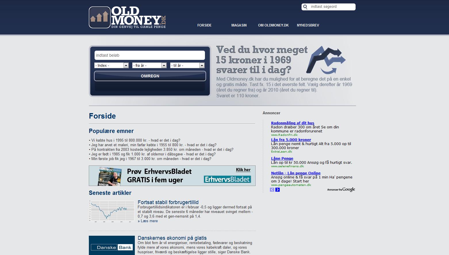 Om Oldmoney.dk » Oldmoney.dk | Din genvej til gamle penge